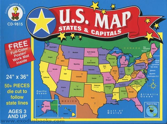 United States Map Puzzle Capitals Images Map Of The U S A - Us maps puzzle