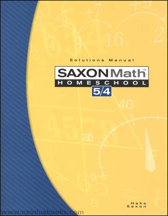 Saxon Math 54 - Solutions Manual - Exodus Books