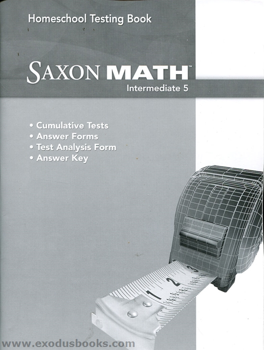 Saxon Math Intermediate 5 - Testing Book - Exodus Books