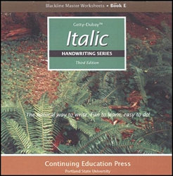 Italic Handwriting E - Blackline Masters CD-ROM