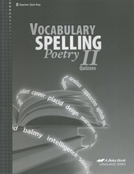 Vocabulary, Spelling, Poetry II - Quiz Key