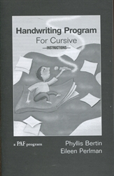 Handwriting Program for Cursive - Teacher's Manual
