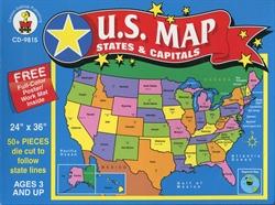 US Map States Capitals Floor Puzzle Exodus Books