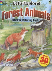 Let's Explore! Forest Animals - Sticker Coloring Book