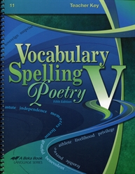 Vocabulary, Spelling, Poetry V - Teacher Key
