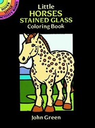 Little Horses Stained Glass Coloring  - Activity Book