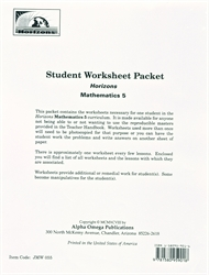Horizons Math 5 - Student Worksheets