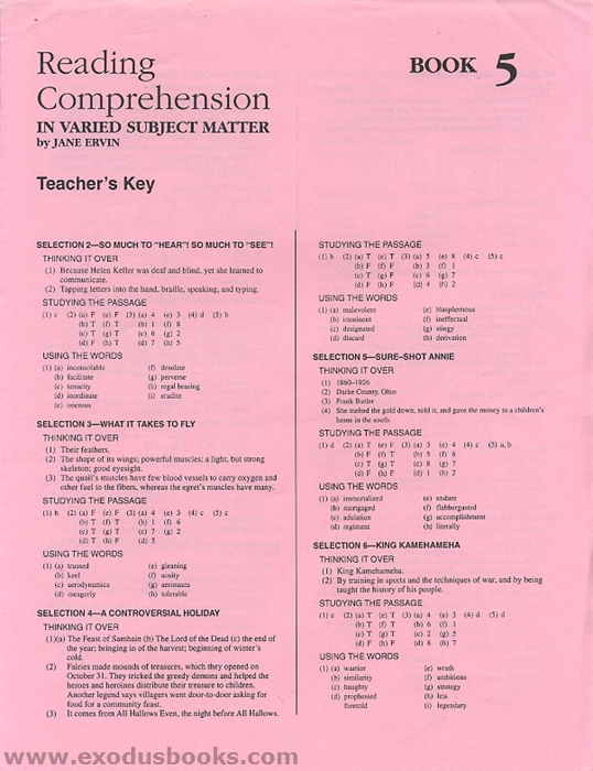 Reading Comprehension In Varied Subject Matter Book 5