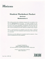 Horizons Math 6 - Student Worksheets