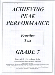 Achieving Peak Performance Grade 7 - Practice Test
