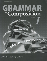 Grammar and Composition I - Test/Quiz Key