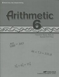 Arithmetic 6 - Tests/Speed Drills Key
