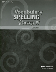 Vocabulary, Spelling, Poetry IV - Quiz Key