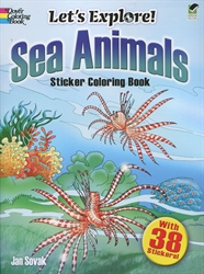 Let's Explore! Sea Animals - Sticker Coloring Book
