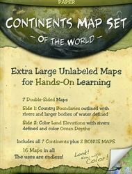 Continents Map Set of the World
