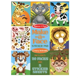 Crazy Animals Make-A-Face Sticker Pad