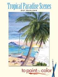 Tropical Paradise Scenes to Paint or Color - Coloring Book