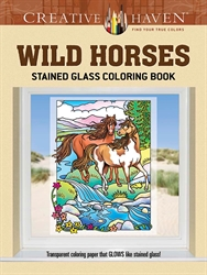 Creative Haven Wild Horses - Stained Glass Coloring Book