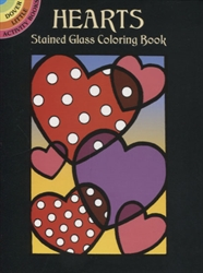 Hearts Stained Glass Coloring - Activity  Book