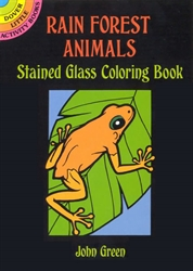 Rain Forest Animals Stained Glass Coloring - Activity Book