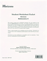 Horizons Math K - Student Worksheets