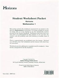 Horizons Math 1 - Student Worksheets