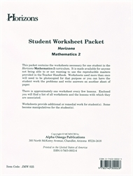 Horizons Math 2 - Student Worksheets