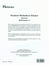 Horizons Math 4 - Student Worksheets